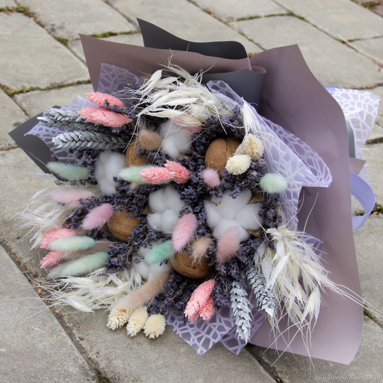 Букеты ручной работы. Ярмарка Мастеров - ручная работа. Купить Букет из веточек сухой крымской лаванды, сухоцветов и орехов. Handmade.