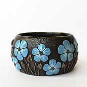 Украшения handmade. Livemaster - original item A wide bracelet made of polymer clay Linen. Handmade.