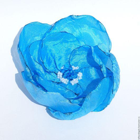 Заколки ручной работы. Ярмарка Мастеров - ручная работа. Купить «Дикая Роза ярко-голубая» («Wild Rose bright blue»).. Handmade.