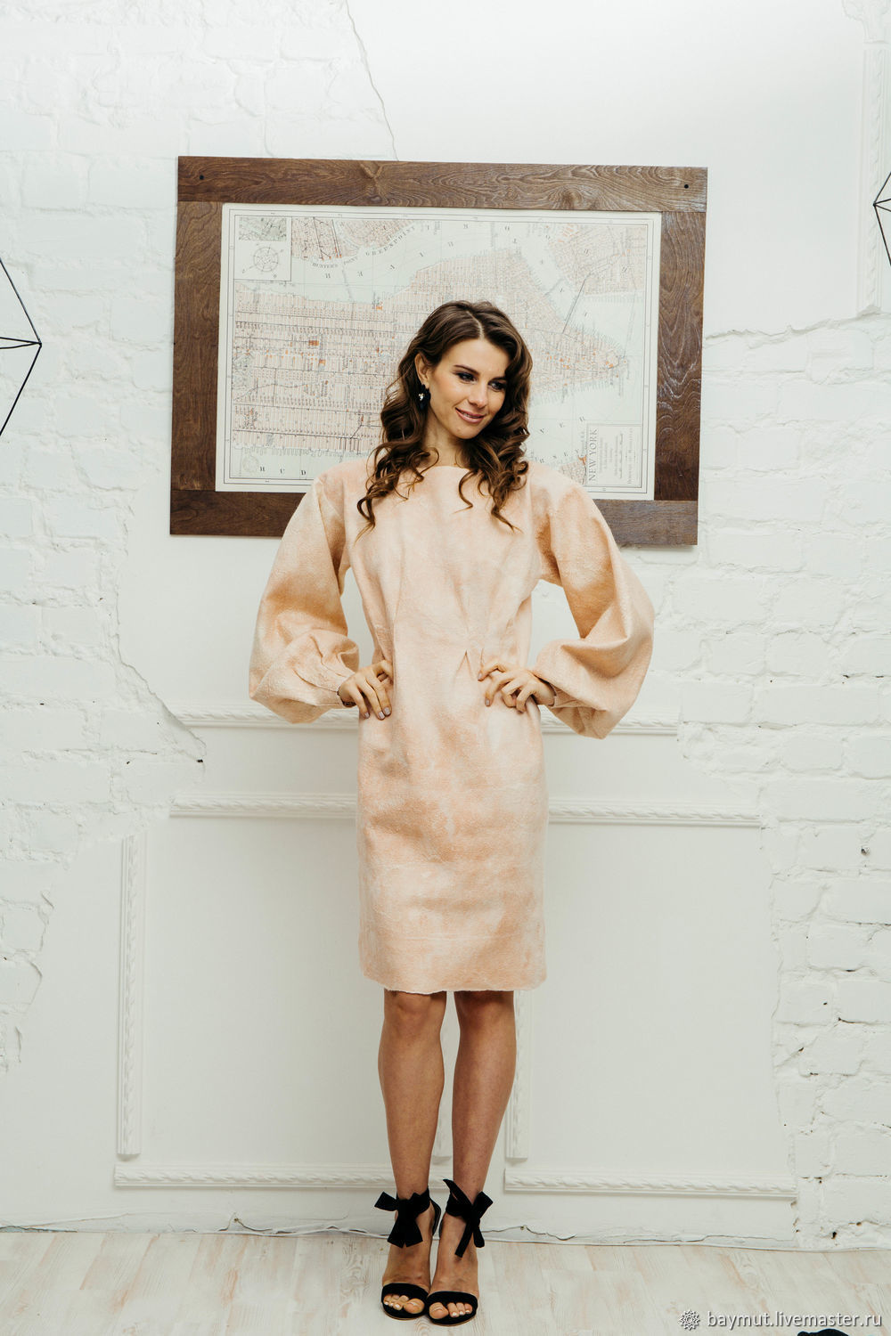 Pale pink felt dress with wide sleeves, Dresses, Lugansk,  Фото №1