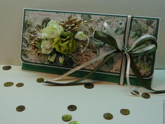 """Конверты для денег ручной работы. Ярмарка Мастеров - ручная работа. Купить Конверт для денег """"Зеленые розы"""". Handmade. Зеленый"""