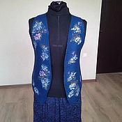 """Одежда ручной работы. Ярмарка Мастеров - ручная работа Жилет""""Синий кантри"""". Handmade."""