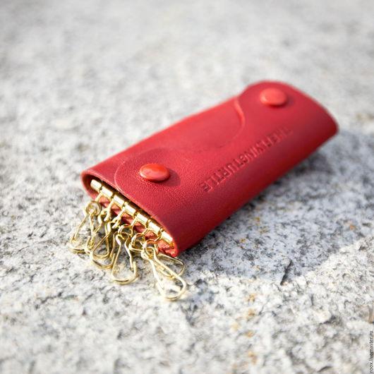 Кошельки и визитницы ручной работы. Ярмарка Мастеров - ручная работа. Купить Ключница из кожи Horween Red essex. Handmade. Horween
