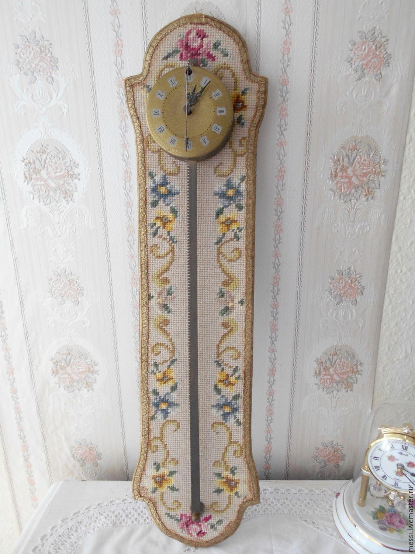 Винтаж: Под реставрацию! Настенные часы рейка, часы пила, Anno 1750, гобелен, Винтажные предметы интерьера, Висбаден, Фото №1