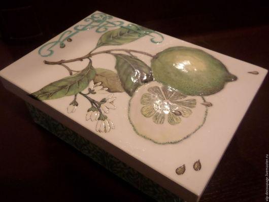 """Кухня ручной работы. Ярмарка Мастеров - ручная работа. Купить Коробочка """"Лайм"""". Handmade. Зеленый, короб для чая, интерьер для дома"""