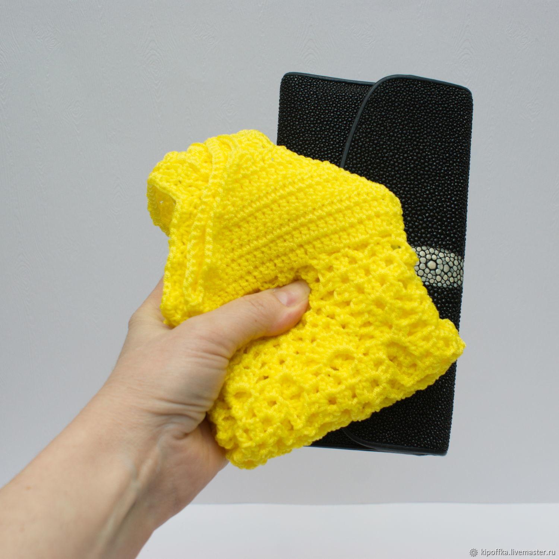 Авоська вязаная сумка желтая лимонная