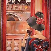 """Картины и панно ручной работы. Ярмарка Мастеров - ручная работа Панно """"Дама с бокалом"""". Handmade."""