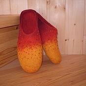 """Обувь ручной работы. Ярмарка Мастеров - ручная работа Валяные тапочки """"Пламя"""". Handmade."""