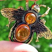 Украшения handmade. Livemaster - original item Brooch with amber Bee insect souvenir amulet gift for girl. Handmade.