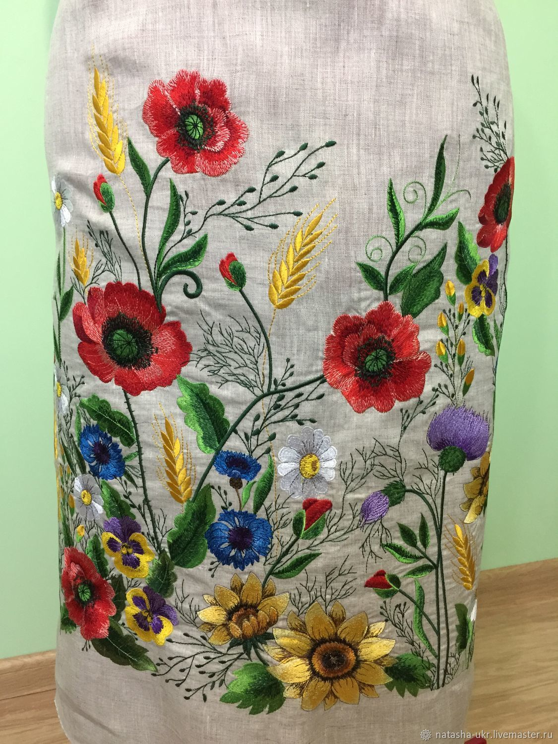 Embroidered dress, workpiece for tailoring dresses, Combination, Zhashkiv,  Фото №1