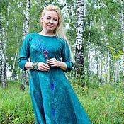 """Одежда ручной работы. Ярмарка Мастеров - ручная работа Авторское валяное платье """"Изумрудный лес"""" резерв. Handmade."""