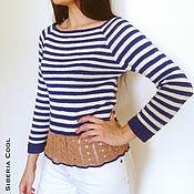 Одежда handmade. Livemaster - original item Women`s vest, knitted, with peplum, marine style, striped. Handmade.