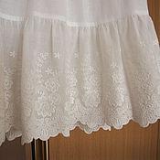 Одежда ручной работы. Ярмарка Мастеров - ручная работа Нижняя юбка из хлопка Арт.101 с шитьем белая молочная. Handmade.