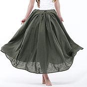 Одежда handmade. Livemaster - original item Khaki Linen boho skirt. Handmade.