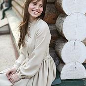 Одежда ручной работы. Ярмарка Мастеров - ручная работа Молочное тёплое шерстяное платье с пышной юбкой и длинным рукавом. Handmade.