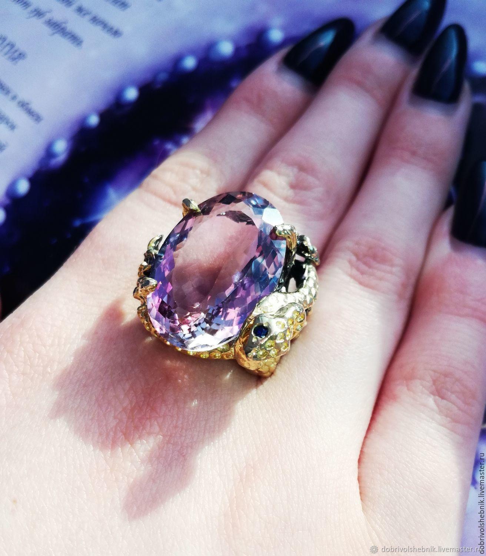 Ring 'Magic' with natural amethyst, Rings, Novaya Usman,  Фото №1