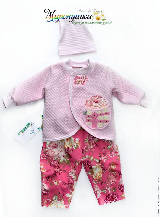 """Одежда для девочек, ручной работы. Ярмарка Мастеров - ручная работа. Купить Комплект """"В полисаднике"""". Handmade. Розовый, джинсы, горошек"""