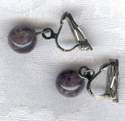 Earrings handmade. Livemaster - handmade. Buy Amethyst clip-on earrings.Gift, earrings, natural stones, decoration