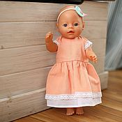 Куклы и игрушки handmade. Livemaster - original item Clothes for dolls, peach dress for dolls made of natural linen. Handmade.