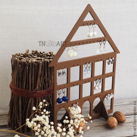Мини-комоды ручной работы. Ярмарка Мастеров - ручная работа. Купить Домик для сережек коричневый - подставка для украшений. Handmade.