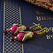 """Украшения ручной работы. Ярмарка Мастеров - ручная работа """"Фуксия в золоте"""" серьги. Handmade."""