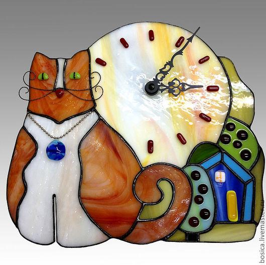 Часы для дома ручной работы. Ярмарка Мастеров - ручная работа. Купить Часики Котейка, тиффан. Handmade. Часы