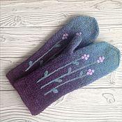 Аксессуары handmade. Livemaster - original item Mittens knitted, felted and mixed media Heather. Handmade.