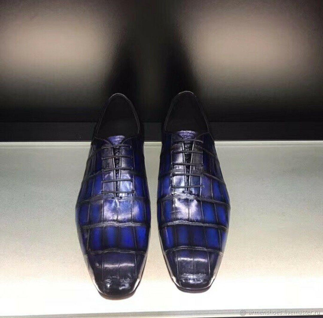 Men's oxfords, classic crocodile leather, in blue, Oxfords, Tosno,  Фото №1