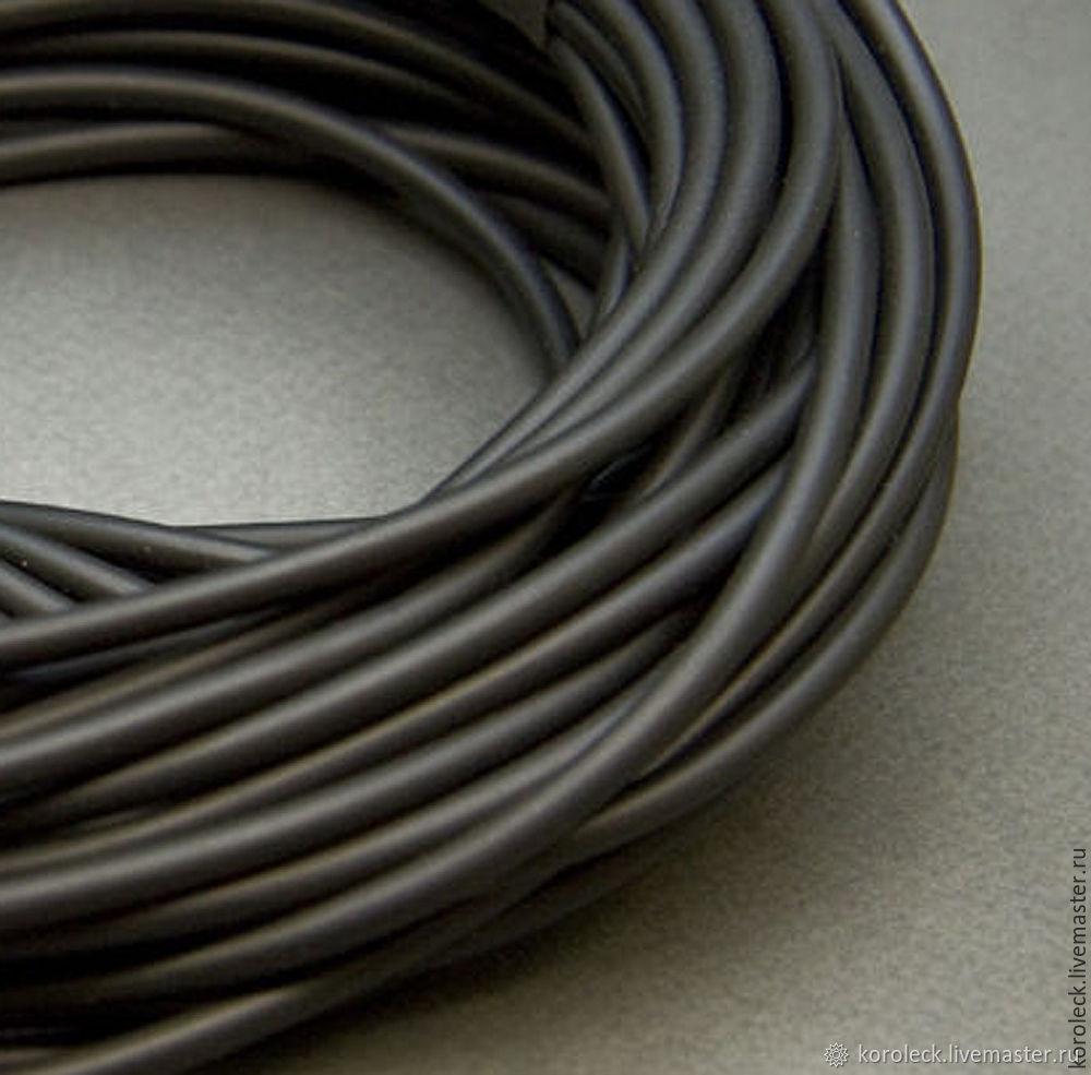 Шнур каучуковый черный полый, толщина 5 мм, Шнуры, Москва,  Фото №1