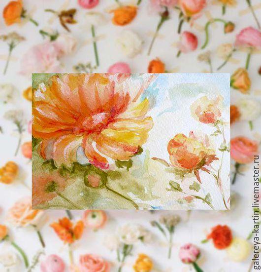 Красивые открытки с цветами. Акварель. Миниатюры. Подарок девушке, женщине.Подсолнух, космея на открытке. Полевые цветы. Маленькая картина.