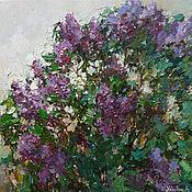 Картины и панно handmade. Livemaster - original item Blooming purple lilacs Original oil painting 90 x 90 cm. Handmade.
