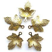 Материалы для творчества handmade. Livemaster - original item Pendant Maple leaf brass. Handmade.