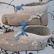 Обувь ручной работы. Ярмарка Мастеров - ручная работа валяные башмачки,,Голубые снежки``. Handmade.