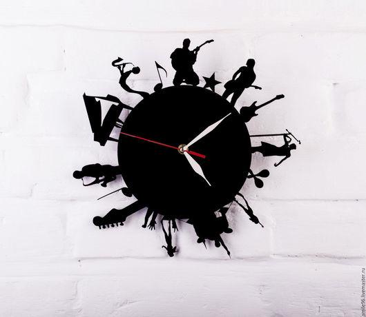 """Часы для дома ручной работы. Ярмарка Мастеров - ручная работа. Купить Часы из пластинки """"Музыка"""". Handmade. Комбинированный, музыка, джаз"""