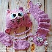Шапка ручной работы. Ярмарка Мастеров - ручная работа Шапочка и шарф Розовая киска. Handmade.