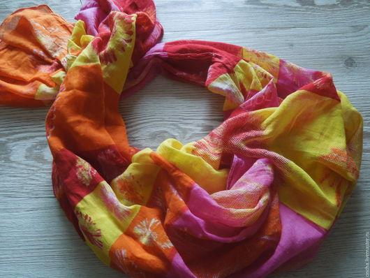 Винтажная одежда и аксессуары. Ярмарка Мастеров - ручная работа. Купить Шарф-палантин Хлопок Оранжевое настроение. Handmade. Рыжий