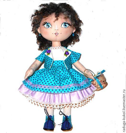 Куклы тыквоголовки ручной работы. Ярмарка Мастеров - ручная работа. Купить Текстильная кукла Василиса. Handmade. Тёмно-бирюзовый, хлопок