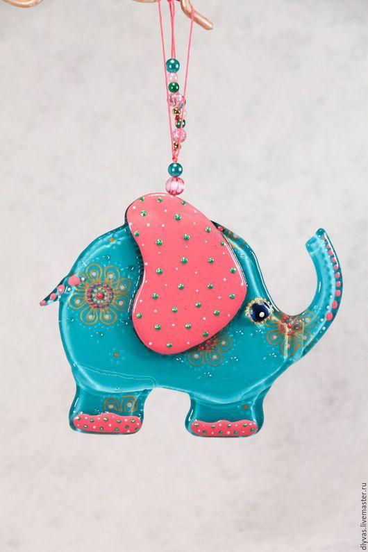 """Подвески ручной работы. Ярмарка Мастеров - ручная работа. Купить """" Чудесный Слон"""", стекло, фьюзинг, витражная роспись. Handmade."""