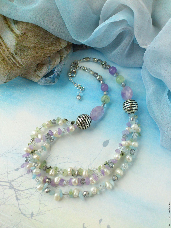 Колье украшения комплекты из бусин жемчуга натуральных камней своими руками