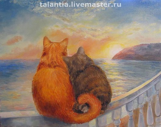 """Животные ручной работы. Ярмарка Мастеров - ручная работа. Купить картина """"Влюбленные коты у моря"""". Handmade. Картина, картина в подарок"""