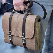 Сумки и аксессуары handmade. Livemaster - original item Brown men`s leather and wood bag Oswer women`s briefcase. Handmade.