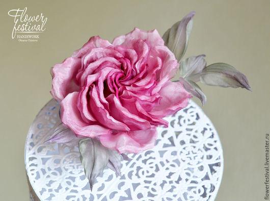 """Цветы ручной работы. Ярмарка Мастеров - ручная работа. Купить Роза из шелка """"Paradise"""". Цветы из ткани. Handmade. Розовый"""
