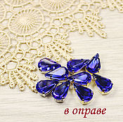 Материалы для творчества handmade. Livemaster - original item Rhinestones teardrop 13h8 mm Cobalt in gold and silver bows flatback. Handmade.
