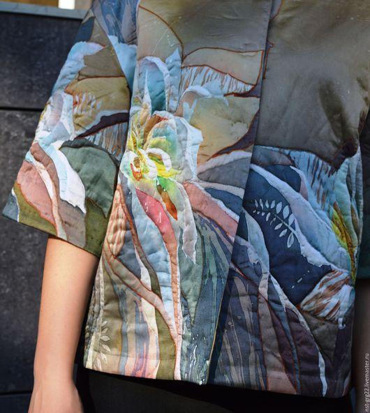 Пиджаки, жакеты ручной работы. Ярмарка Мастеров - ручная работа. Купить жакет теплый стеганый  расписанный вручную Жемчуг. Handmade.