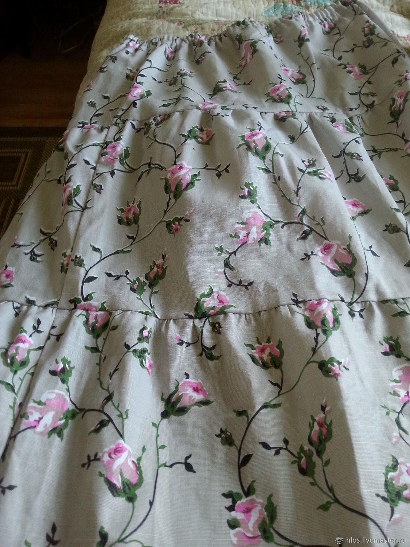 Linen skirt 'Roses', Skirts, Ivanovo,  Фото №1
