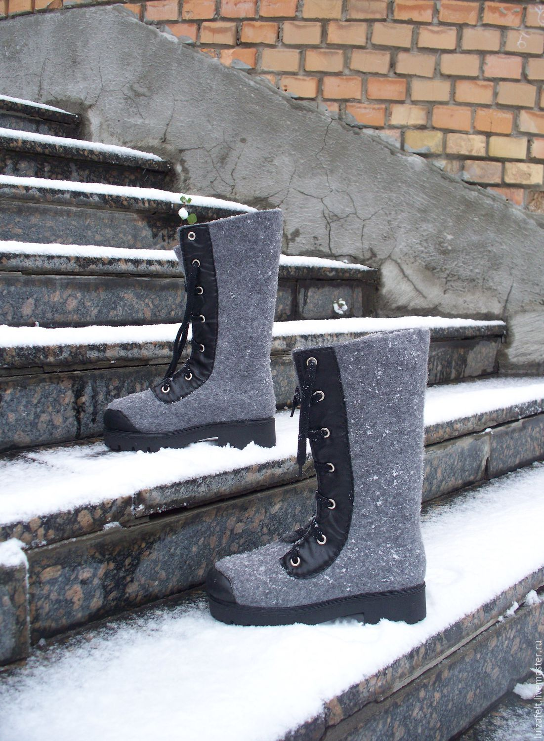 Felted boots 'Grey granite', High Boots, Kiev,  Фото №1