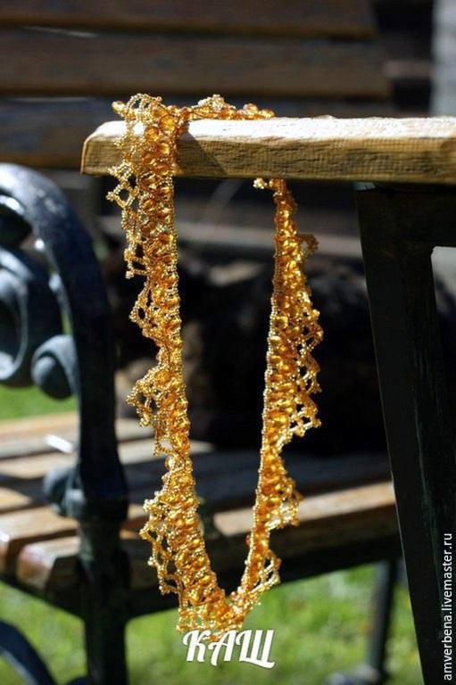 """Колье, бусы ручной работы. Ярмарка Мастеров - ручная работа. Купить Ожерелье """"Янтарный ажур"""" - чешское стекло. Handmade. Желтый"""