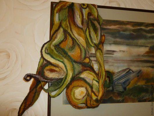 Шарфы и шарфики ручной работы. Ярмарка Мастеров - ручная работа. Купить бактус валяный Скоро осень. Handmade. Абстрактный, нунофелтинг
