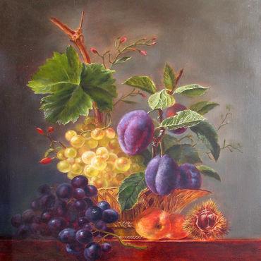 Картины и панно ручной работы. Ярмарка Мастеров - ручная работа Картина  маслом натюрморт с фруктами. Handmade.
