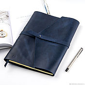 Канцелярские товары handmade. Livemaster - original item Leather notebook A4 ring is made of genuine leather Crazy Horse. Handmade.